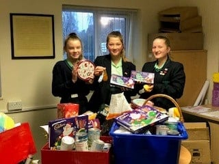 Walton students collect parcels for Grantham Food Bank